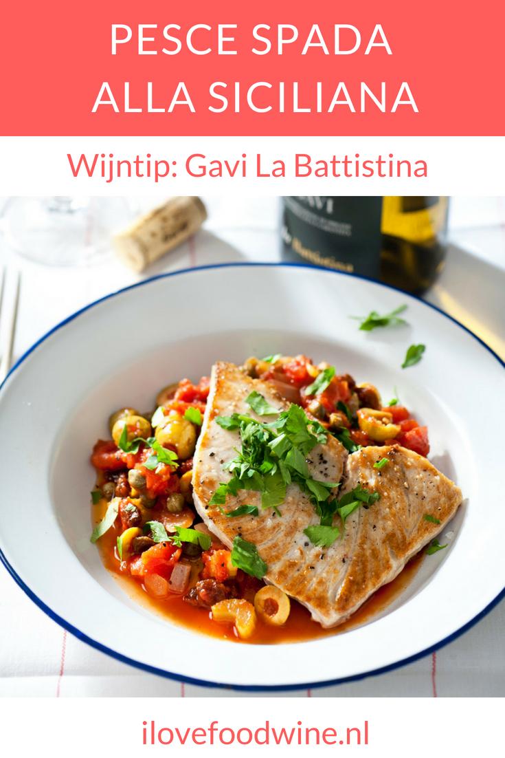 Recept Pesce Spada alla Siciliana: een typisch Zuid-Italiaans visgerecht van gegrilde zwaardvis met tomaten-groentensaus. Combineer met een witte wijn als Gavi La Battistina. #zwaardvis