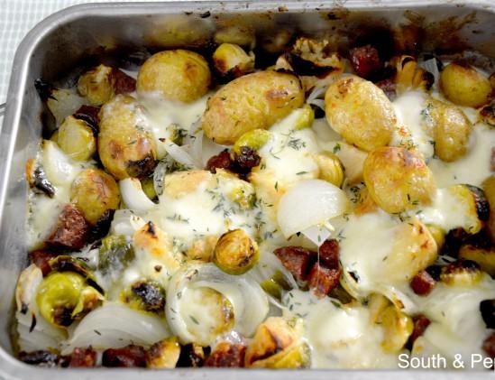 Winterse ovenschotel met spruitjes