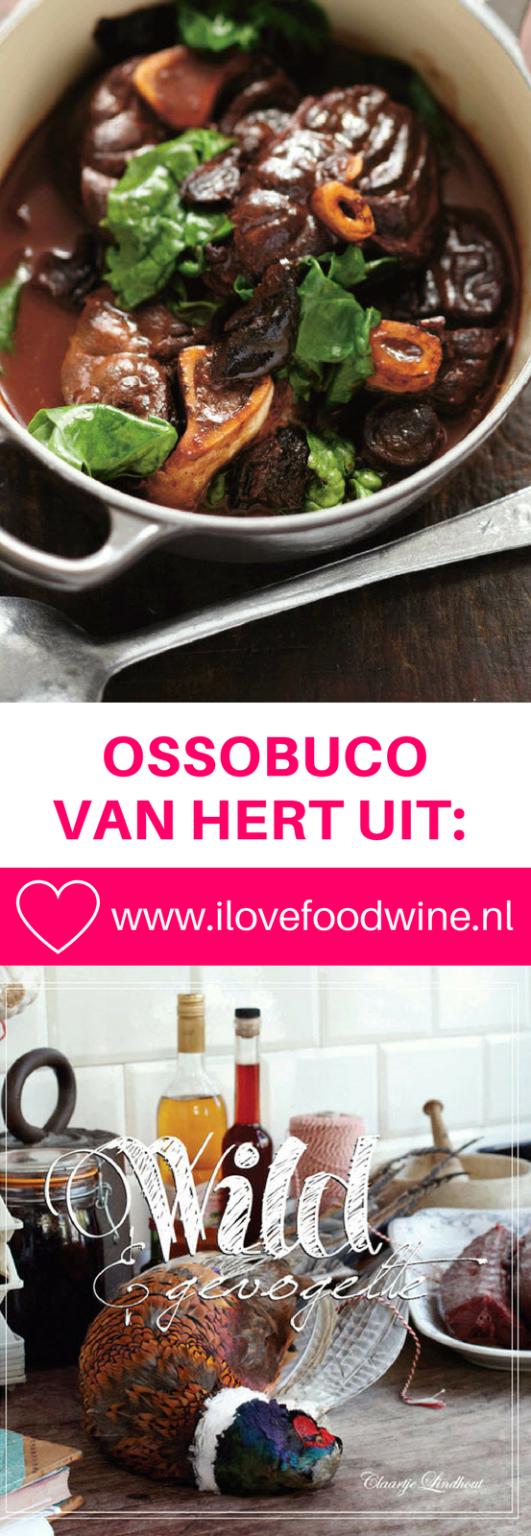 Wild recept ossobuco van hert. Met rode wijn, wildfond, tomatenpuree etc. #ossobuco #wild #hert