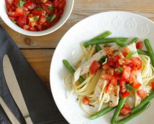 Linguine met boontjes, tomaat en kalkoen_1
