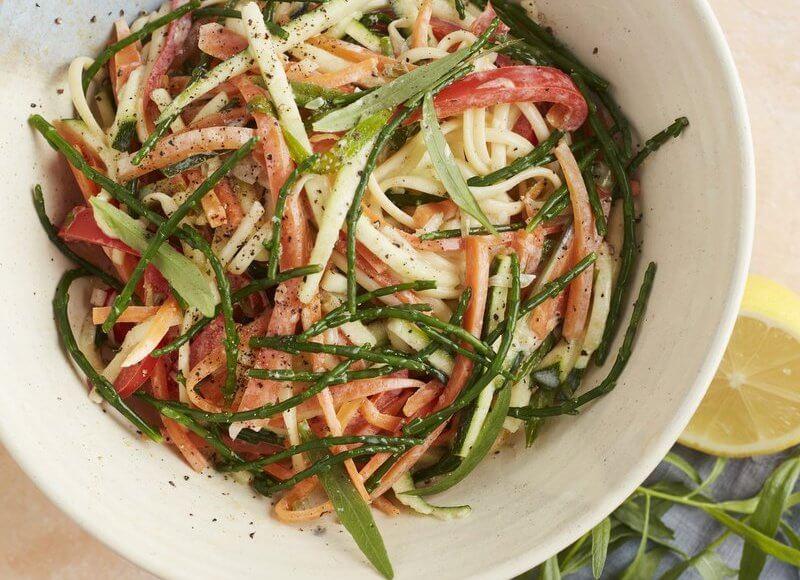 Groentespaghetti met zeekraal