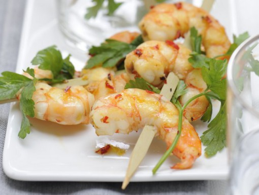 Recept: garnalenspiesje met koriandermayonaise