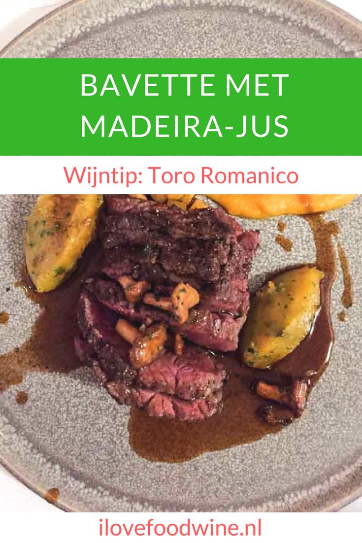 Recept Bavette met madeira jus en pompoen. Bavette is een steak met een stevige bite en wat meer vetmarkering. De gebakken cantharellen maken het geheel helemaal af. Een heerlijk herfstgerecht! Serveer er een volle rijke rode wijn bij, zoals de Toro Romanico uit Noord-Spanje of een Valpolicella Ripasso.