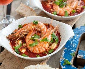 Gamba's met tomaten en feta