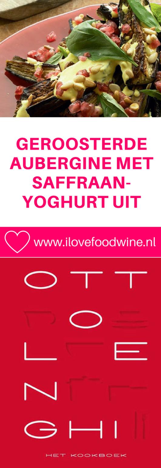 Recept geroosterde aubergine met saffraanyoghurt uit kookboek Yotam Ottolenghi. Met aubergine, granaatappel, pijnboompitjes, yoghurt etc.. #ottolenghi #aubergine