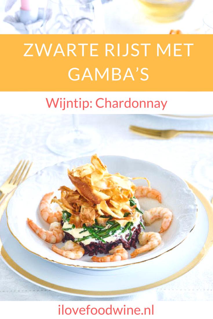 Recept Zwarte rijst met gamba's uit het kookboek Daily Dinnes van Chicks love food. met maximaal 5 ingrediënten zet je snel een creatieve maaltijd op tafel o.a. pastinaak, zwarte rijst, gamba's en zeekraal. Voorgerecht voor 4 personen. #gamba's #voorgerecht