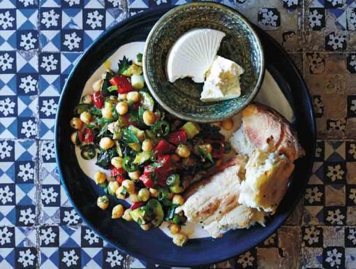Courgette-kikkererwten salade