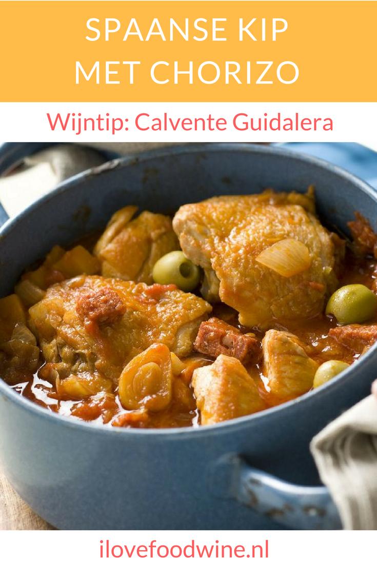 Recept stoofschotel spaanse kip met chorizo. Met o.a. kipfilet, kipkarbonades, groene olijven, chorizo, knoflook, paprikapoeder etc. Smaakvol en een tikje pittig door de chorizo. Daar drinken we een soepele rode wijn bij. #stoofschotel #kip #chorizo #recept