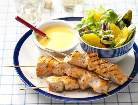 Zalmspies met gember en romige saus
