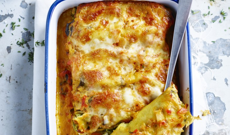Cannelloni met spinazie staand