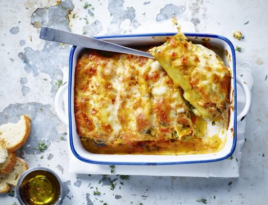 Cannelloni gevuld met spinazie, feta en avocado uit het kookboek De Flexikok van Veerle den Brabander
