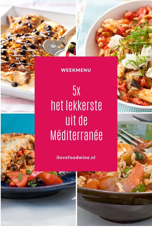 Weekmenu met het lekkerste uit de Méditerranée. Klassieke zomergerechten die iedereen kent: Spaanse paella, Griekse Moussaka, Pasta à la Norma, Franse pissaladière en Marokkaanse tajine van kip. Dit zijn allerbeste versies met de beste recepten. Alles vele malen getest. Ook voor vegetariërs. Recepten nodig? Ga naar de website. #wereldgerechten #paella #zomergerechten #wijn-spijscombinatie