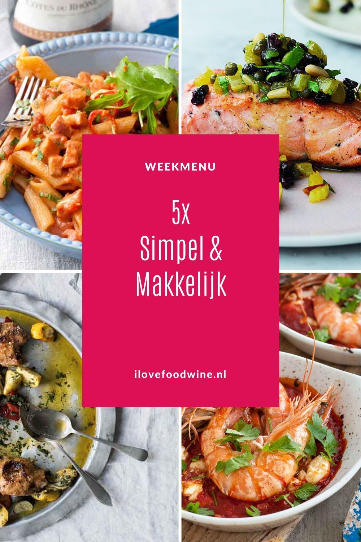 Weekmenu simpel & makkelijk. Jamie Oliver en Ottolenghi geven het voorbeeld. Van zalm en pasta alla Norma tot gevulde kip. Met bijpassend wijnadvies. Alle recepten zijn getest! #eenvoudig #snel