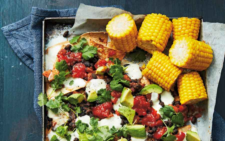 Bonenschotel met Mais met nachos