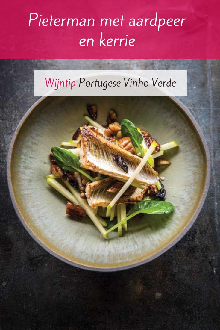 Vis recept: Pieterman met aardpeer en kerrie. Uit het kookboek 'Zot van de Noordzee'. Schenk er Vinho Verde bij.