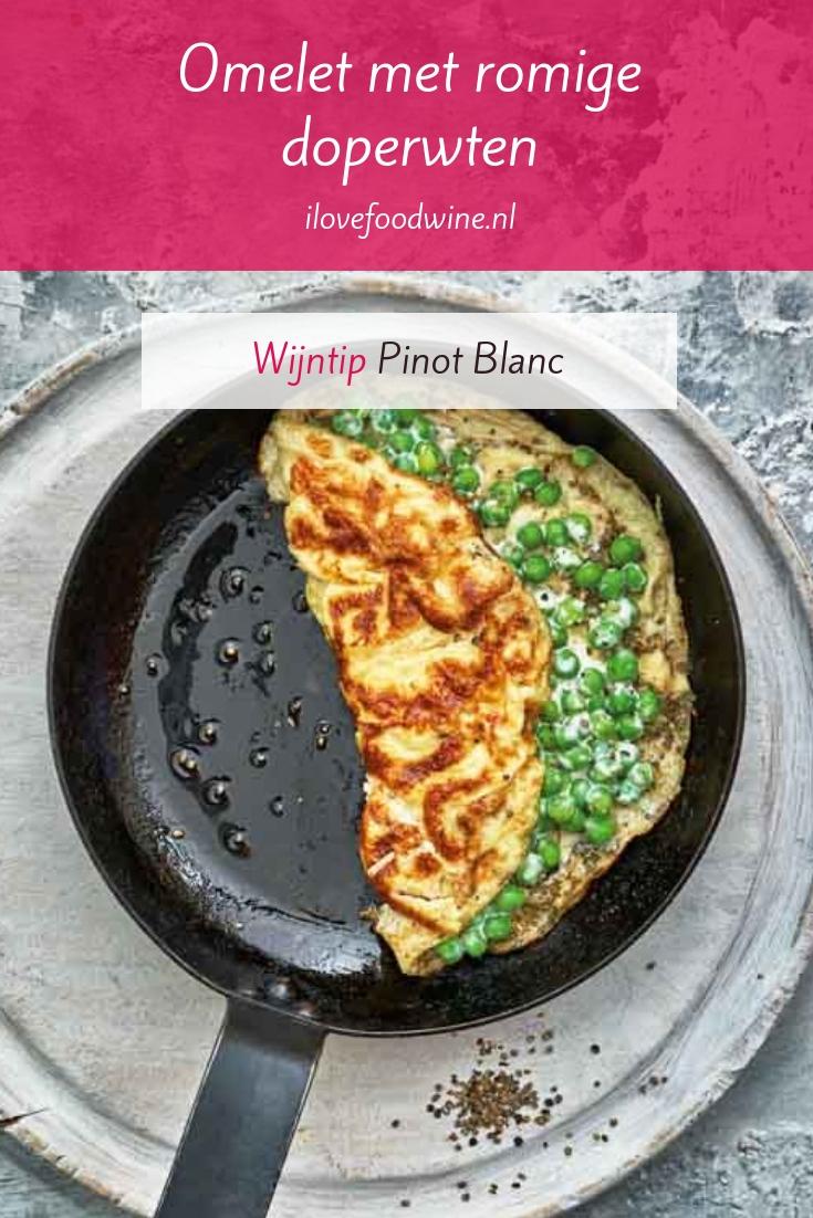 Vegetarisch recept: omelet gevuld met romige doperwten. In 20 minuten op tafel. Makkelijk om te maken. #snel #eieren