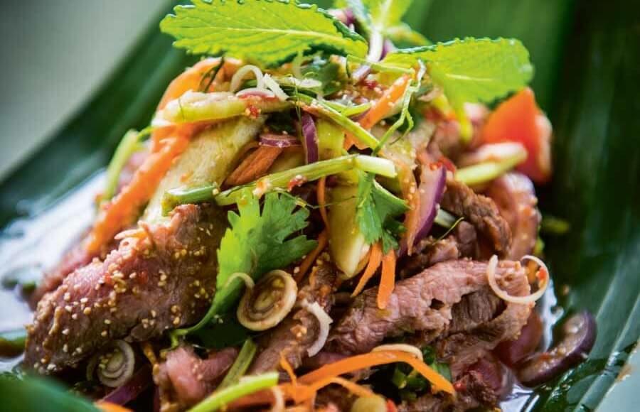 Thaise salade met biefstuk uit het kookboek West eats East