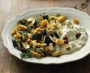 Courgette salade met limoen-ricotta