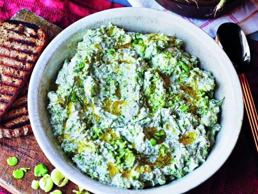 tuinbonen-ricotta dip met dille uit Bazaar van Sabrina Gahyour