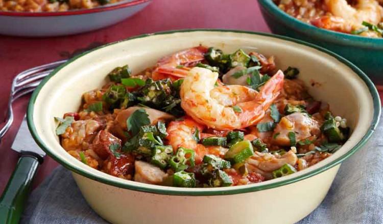 Gumbo met garnalen en rijst uit het kookboek Rijst & co