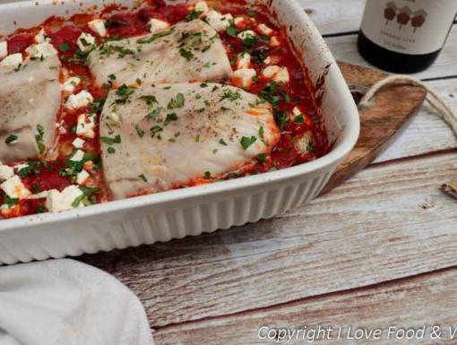 Victoriabaars met tomaten, feta en krieltjes & Rueda