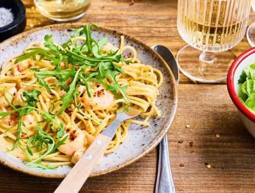 Spaghetti met garnalen-roomsaus van Tooske Ragas uit het ko