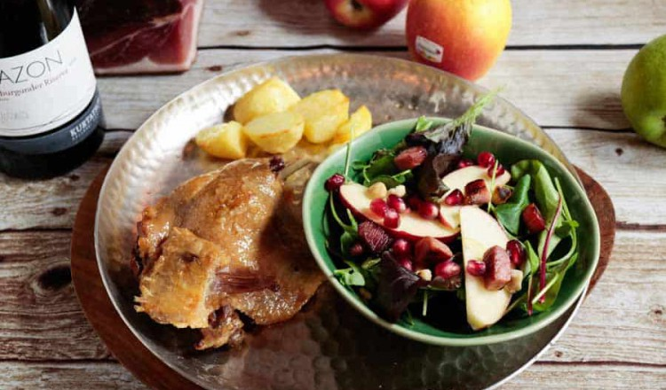 Confit de canard met salade uit Süd-Tirol