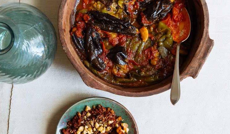 Auberginestoof met paprika uit Beiroet van Merijn Tol
