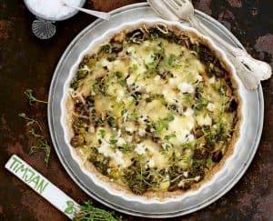 Quiche met boerenkool en champignons uit het kookboek Vegetarisch voor een prikkie