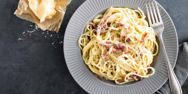 Pasta met Gorgonzola en spek