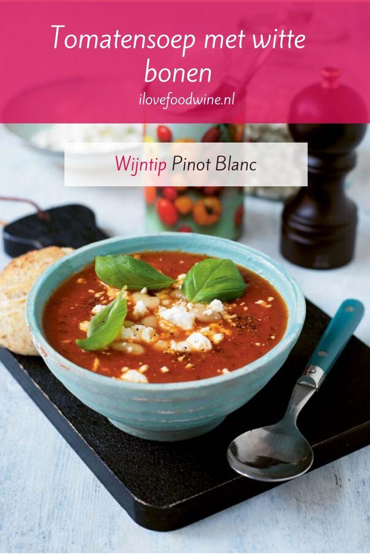 Recept: tomatensoep met witte bonen en feta. Onwijs makkelijke maaltijdsoep. Witte bonen zorgen voor bite. Feta voor de kick. Snel, vegetarisch en goedkoop. Lees het hele recept op de website! Welke wijn past hier nog meer bij dan een Pinot Blanc? #wijn-spijscombinatie #budget #eenvoudig #vegetarisch #soep