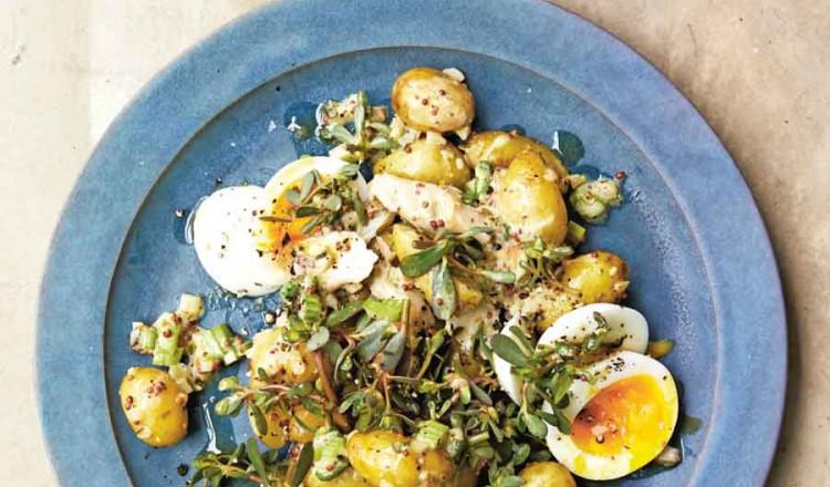 Aardappelsalade met forel uit het kookboek California Dreamin'