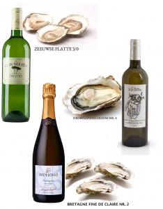 Drie soorten oesters, drie verschillende wijnen