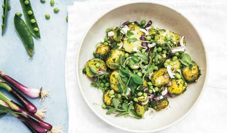 Aardappelsalade met pesto uit het kookboek Salade in 6 Stappen.