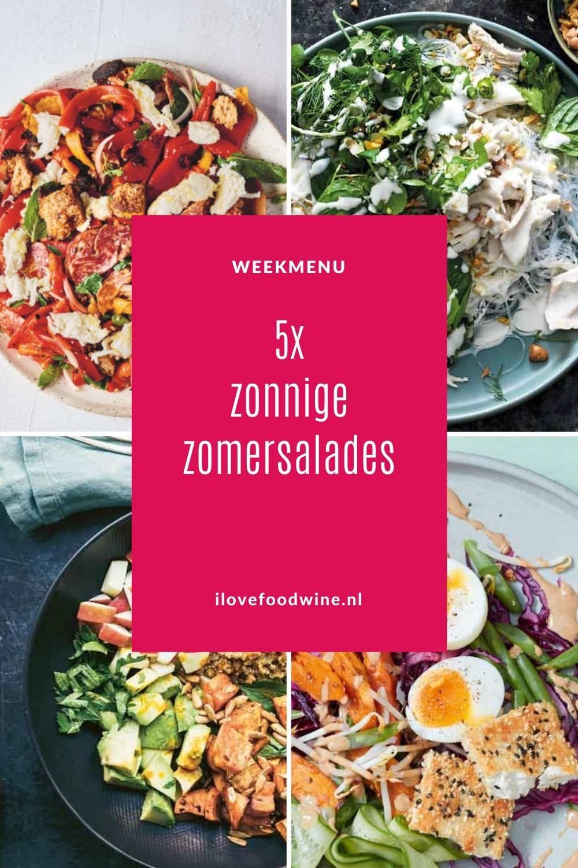Weekmenu zonnige zomersalades. Vijf maaltijdsalades die steeds verrassend anders zijn voor warme dagen. Met bijpassend wijnadvies. Alle recepten zijn getest! #buiteneten #zomer #salade