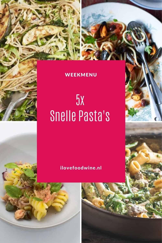 Weekmenu met snelle pasta's. Snel, simpel en makkelijk. Vijf snelle pastagerechten die tussen de 10 – 30 minuten op tafel staan. Met zomerse ingrediënten die passen in dit seizoen. #zomer #makkelijk #Italiaans #pasta