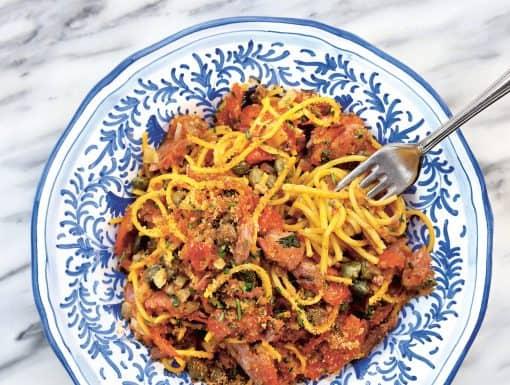 Tagliolini al tonno uit het kookboek Big Mamma's cucina Popolare