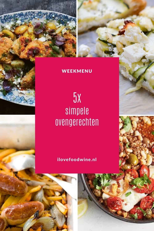Weekmenu simpele ovengerechten. Makkelijk en eenvoudig, het is een kwestie van stapelen of mengen. Dat zijn deze 5 simpele ovenschotels, want de oven doet het werk. Alle ovenrecepten zijn aanraders! #makkelijk #oven #doordeweeks #herfst #comfortfood