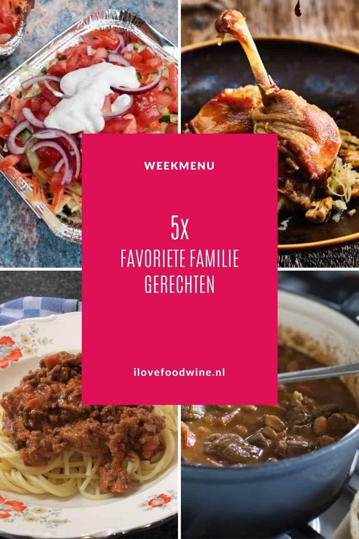 Weekmenu met familie gerechten. Gerechten om te delen, gerechten die iedereen lekker vindt. Van boerenkool stamppot, pasta met bolognesesaus tot kapsalon en chili con carne. Heerlijk comfordfood. #doordeweeks #comfortfood #familie