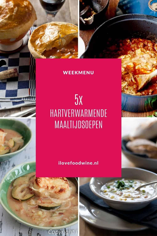 Weekmenu makkelijke maaltijdsoepen. Hartverwarmend comfortfood: 5 heerlijke maaltijdsoepen die ook nog eens heel snel klaar zijn. Van bruine bonensoep tot Thaise garnalensoep. Soep smaakt op elke moment van de dag. #soep #maaltijdsoep #winter #comfortfood