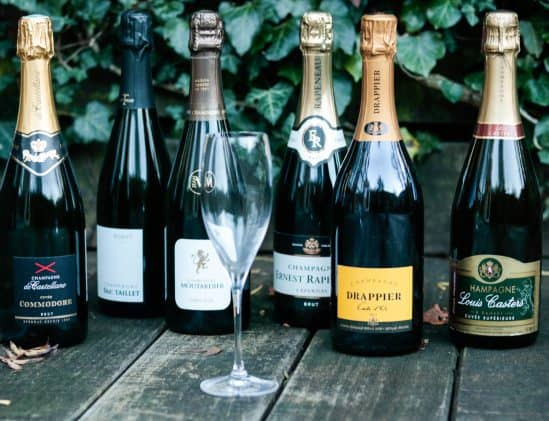 6x Champagne met glas