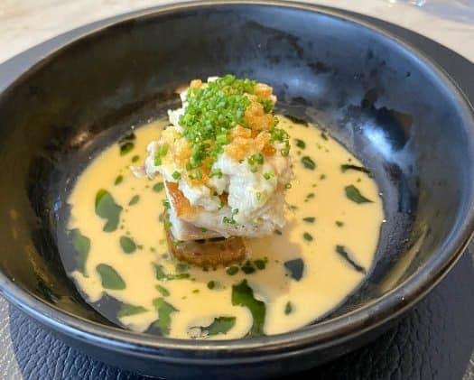 Restaurant De Burgemeester Tarbot met paling en dashi