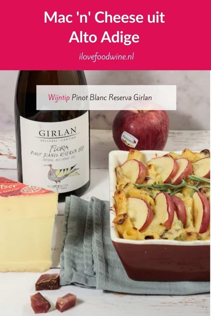 Heerlijke Mac and Cheese met Italiaanse kwaliteitsproducten uit Alto Adige: südtiroler speck, Stilfser kaqas en appels, aangevuld met verse salie. Wow; echt gaaf! Erbij een Pinot Blanc Reserve van Cantina Girlan. Zo wordt het 1 + 1 = 3! Lees het hele recept op de website! Welke wijn past hier nog meer bij? #altoadige #AltoAdige #pasta #macaroni #comfortfood #ovenschotel #sudtirolerspeck #appels #granaatappel #confitdecanard #EnjoyItsFromEurope #Tastesouthtyrol #Suedtirol #SouthTyrol #AltoAdige #EuropeanQuality
