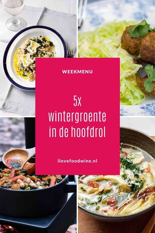 Wintergroente in de hoofdrol! Omgetoverd tot 5 heerlijke doordeweekse maaltijden. Van spruitjes, boerenkool, prei, witlof, kool en spruitjes. Alles even lekker, uitdagend en supergezond. Met bijpassend wijnadvies. Alle recepten zijn getest! #gezond #groente #wintergroente #doordeweeks