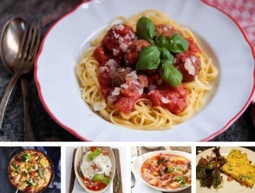 Weekmenu met 5 favoriete Italiaanse gerechten voor doordeweeks. Van spaghetti met gehaktballetjes en Italiaanse vissoep tot Melanzane alla Parmigiana en een slanke Italiaanse omelet met groente. #Italië #Italiaanse gerechten #vakantie