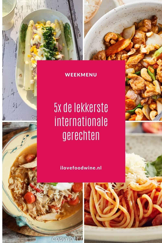 Weekmenu met een top 5 van internationale gerechten uit de landen Mexico, Italië, Nederland, Thailand en Engeland. Allemaal klassiekers die je een keer geproefd moet hebben. Niet de meest voor de hand liggende, maar wel een ontdekkingstocht waard. #klassiekers #internationalegerechten #classics #wereldkeuken #toprecepten