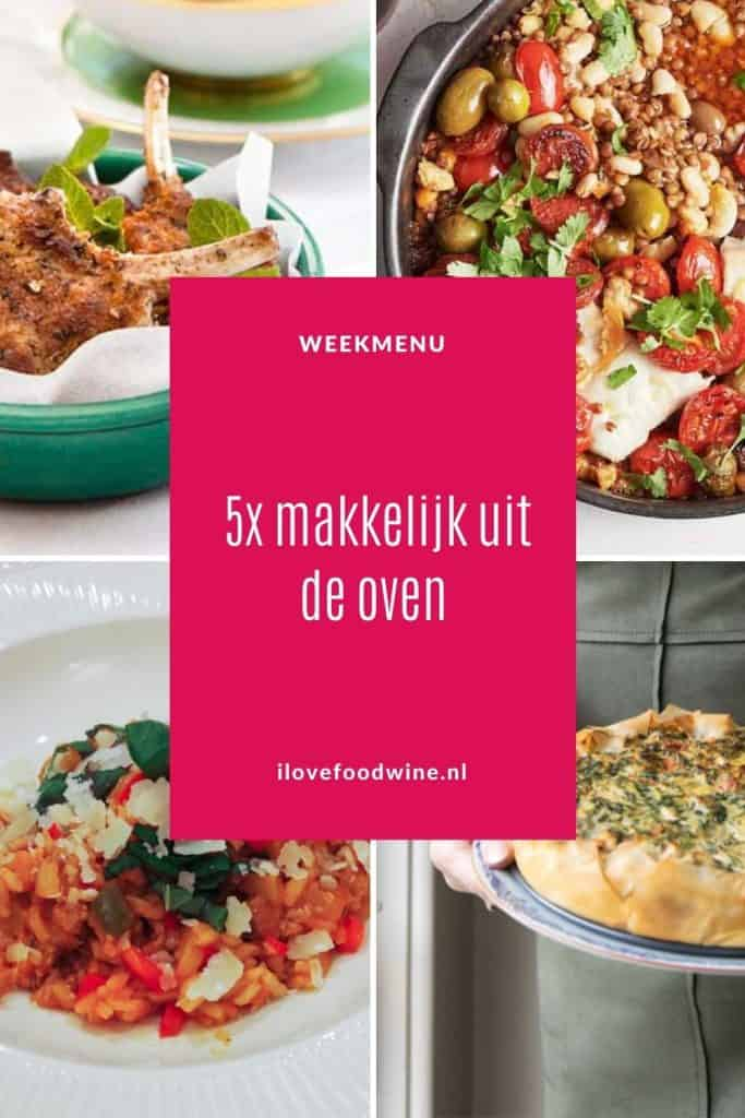 Weekmenu met makkelijke recepten uit de oven. Ovengerechten die iedereen lekker vindt en die eenvoudig te bereiden zijn. Want de oven doet het meeste werk. Intussen kun je lekker andere dingen doen. Van snelle ovenschotels voor doordeweeks tot een heerlijke lamsrack voor het weekend. In een handomdraai zet je heerlijke gerechten op tafel. #oven #makkelijk #doordeweeks