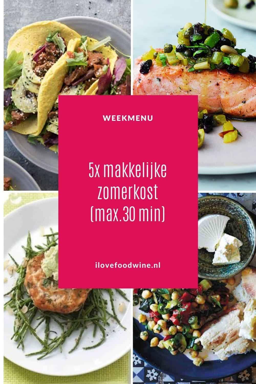 Op zoek naar makkelijke zomerse gerechten? Kies dan voor dit zonnige weekmenu. Alle gerechten staan tussen de 15 en 30 minuten op tafel. Van een makkelijke pasta puttanesca en gevulde taco's met kip tot een feestelijke zalmburger met zeekraal. Kort samengevat: makkelijke zomerkost om in de tuin van te genieten. Recepten nodig? Ga naar de website.  #zomer #snel #makkelijk # weekmenu