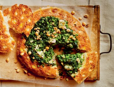 Gevuld Turks brood met spinazie vegetarisch