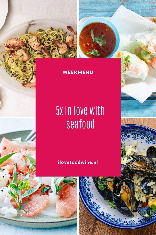 Zomers weekmenu met alles wat uit de zee komt: van mosselen, coquilles, vis tot garnalen en langoustines. En wat drinken we daarbij: Spaanse Albariño natuurlijk! Een perfecte wijn-spijscombinatie. Dus, we zijn helemaal In Love With Seafood & Albariño. Laat de zomer en zee maar komen… Recepten nodig? Ga naar de website. #zomers #seafood #schaal- en schelpdieren #garnalen